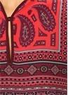 Kırmızı Şal Desenli Midi İpek Elbise
