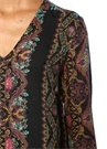 Siyah V Yaka Şal Desenli Uzun Kollu İpek Bluz