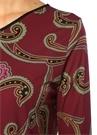Mor Etnik Desenli Midi Elbise