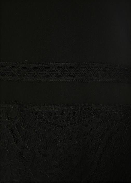 Siyah Bisiklet Yaka Dantel Garnili Abiye Bluz