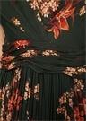 Romances Yeşil Fırfırlı Çiçekli Maxi İpek Elbise