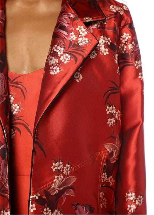As If Kırmızı Çiçekli Kelebek Yaka Saten Ceket