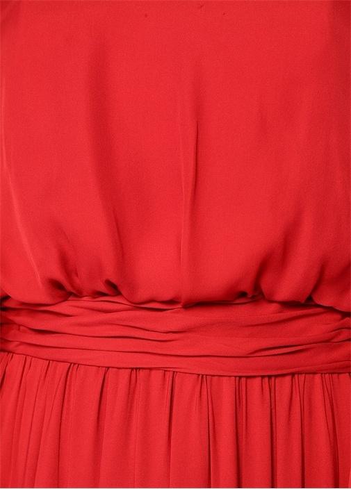 Maria Rosa Kırmızı Balon Kollu Maksi İpek Elbise