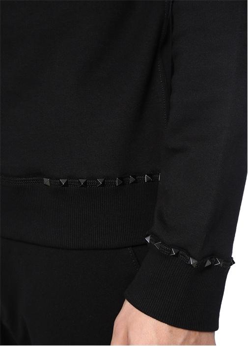 Siyah Bisiklet Yaka Troklu Sweatshirt