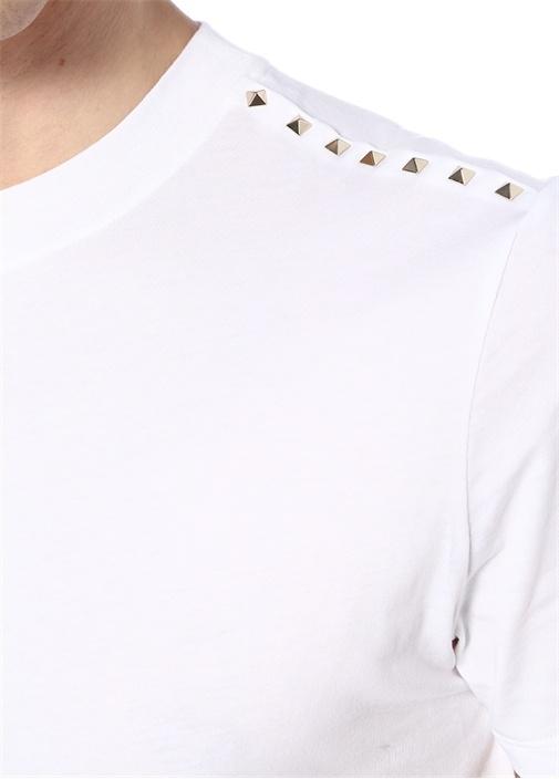 Beyaz Bisiklet Yaka Gold Troklu Basic T-shirt
