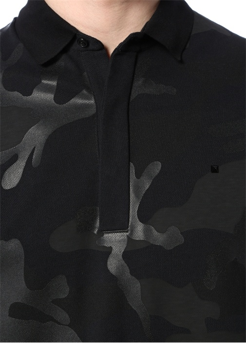 Siyah Polo Yaka Kamuflaj Desenli T-shirt