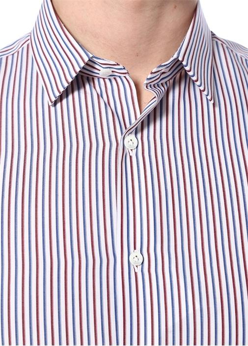 Kırmızı Mavi İngiliz Yaka Düğmeli Çizgili Gömlek