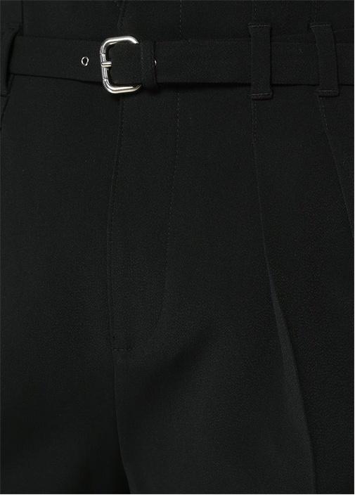 Siyah Yüksek Bel Kemerli Pileli Crop Pantolon