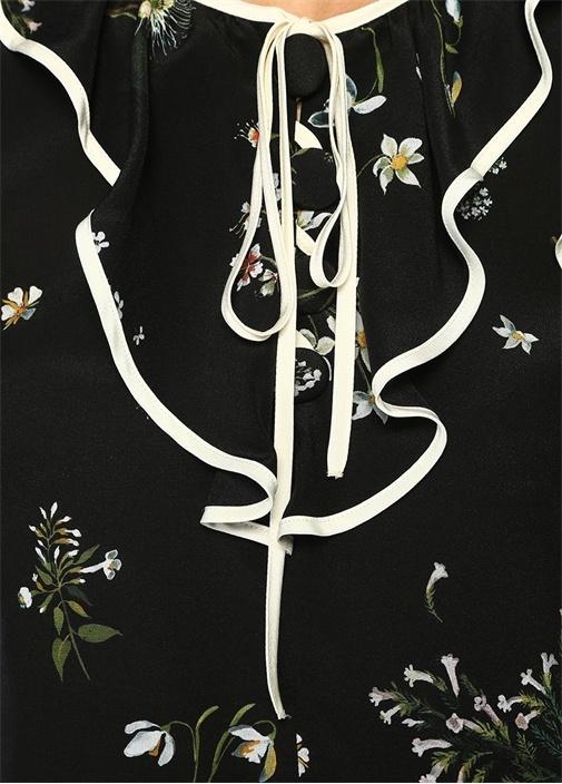Siyah Çiçekli Fırfırlı Şeritli İpek Bluz