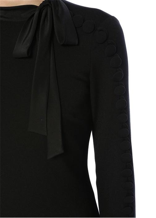 Siyah Yakası Bağlı Düğmeli Şeritli MiniElbise