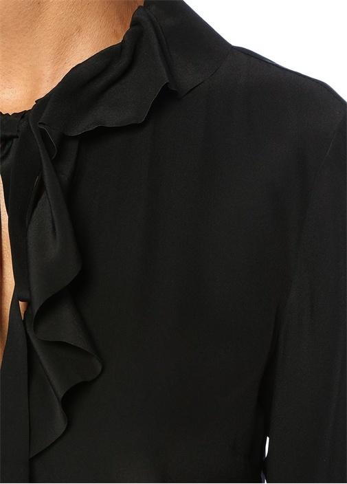 Siyah Yakası Bağcıklı Fırfırlı İpek Bluz