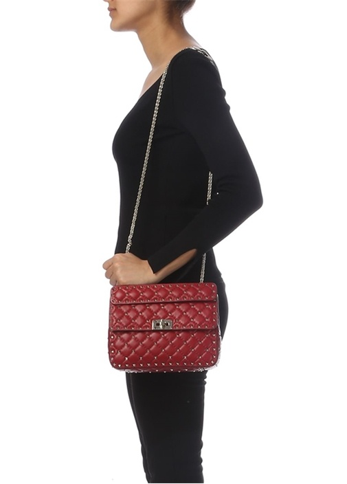 Kırmızı Rockstud Kadın Çanta
