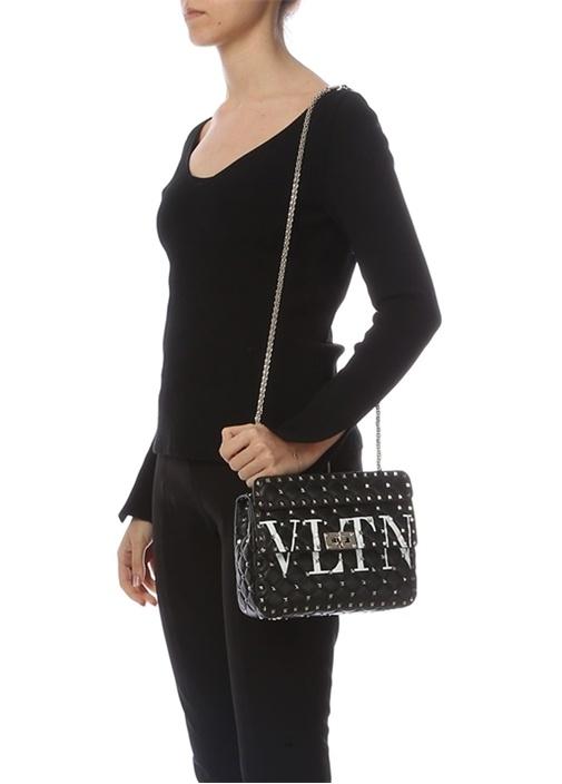 Siyah Rockstud Kadın Deri Çanta
