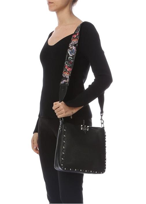 Siyah Dokulu Kadın Deri Çanta
