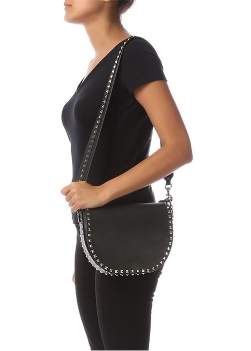 Rockstud Siyah Kadın Deri Çanta