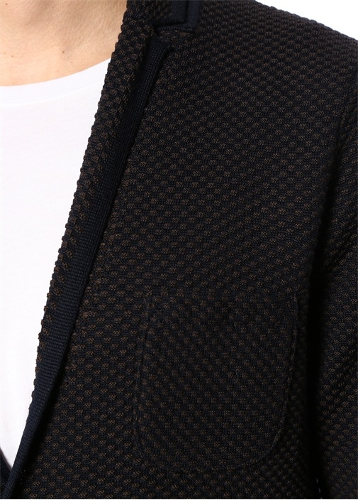 Kahverengi Şal Yaka Dokulu Yün Triko Ceket