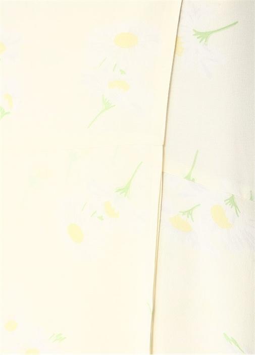 Nolano Ekru Beli Bağlamalı Çiçekli İpekMidi Etek