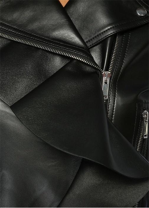 Siyah Kelebek Yaka Fırfırlı Deri Ceket