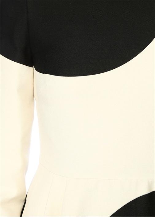Siyah Beyaz Puanlı Yakası Fırfırlı Maksi Elbise