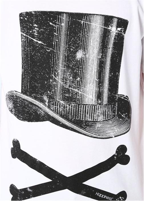 Beyaz Şapka Baskılı Basic T-shirt