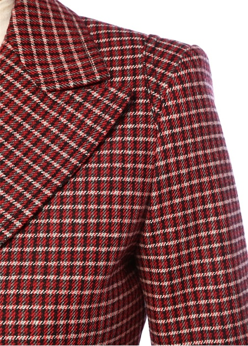 Kırmızı Siyah Mikro Desenli Yün Ceket
