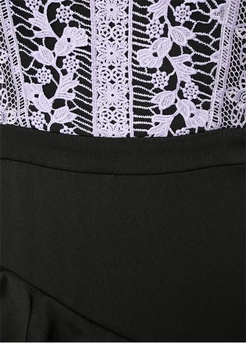 Siyah Lila Dantelli Volanlı Maksi Elbise