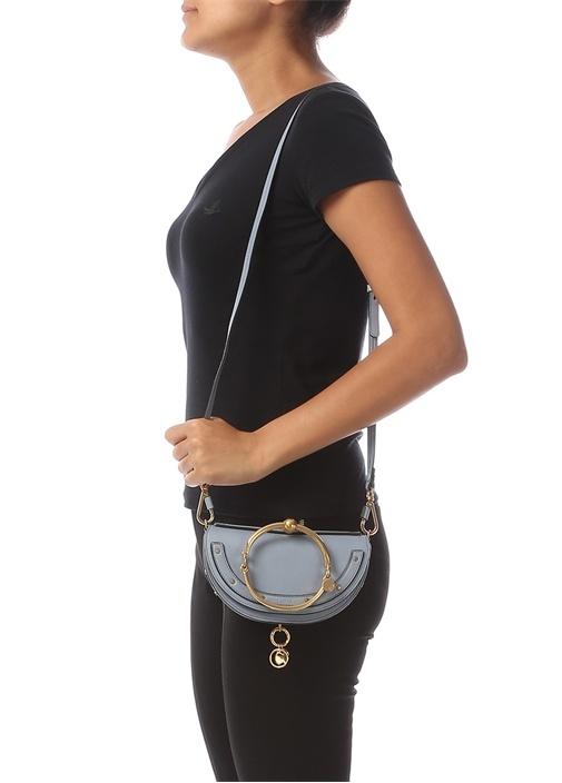 Nile Minaudiere Mavi Logolu Kadın Deri Çanta