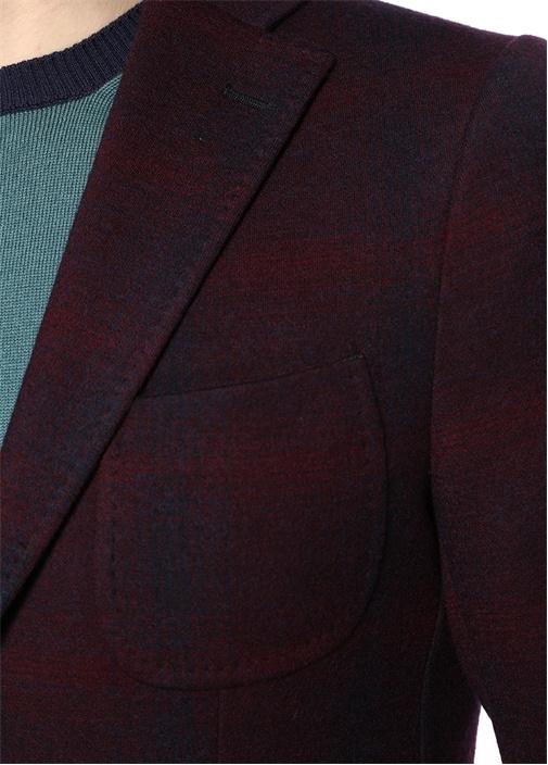 Bordo Kelebek Yaka Desenli Jersey Ceket
