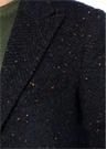 Lacivert Mikro Desenli Yün Palto