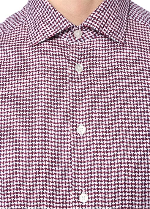 Kırmızı Klasik Yaka Mikro Kazayağı Desenli Gömlek