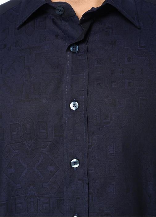 Lacivert İngiliz Yaka Baskılı Dokulu Gömlek
