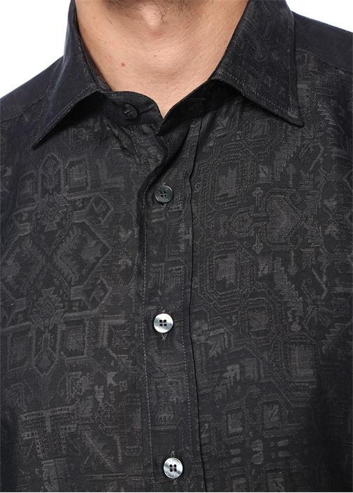 Antrasit İngiliz Yaka Etnik Desenli Gömlek