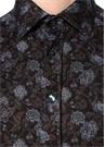Kahverengi Klasik Yaka Çiçekli Gömlek