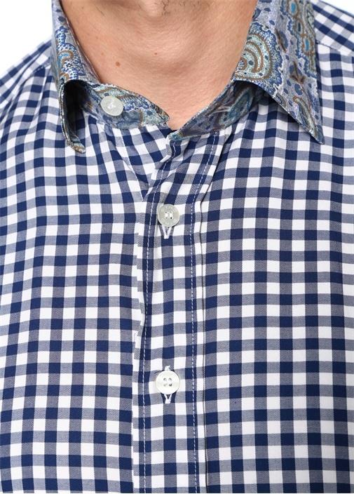 Lacivert Yakası Şal Desenli Pötikareli Gömlek