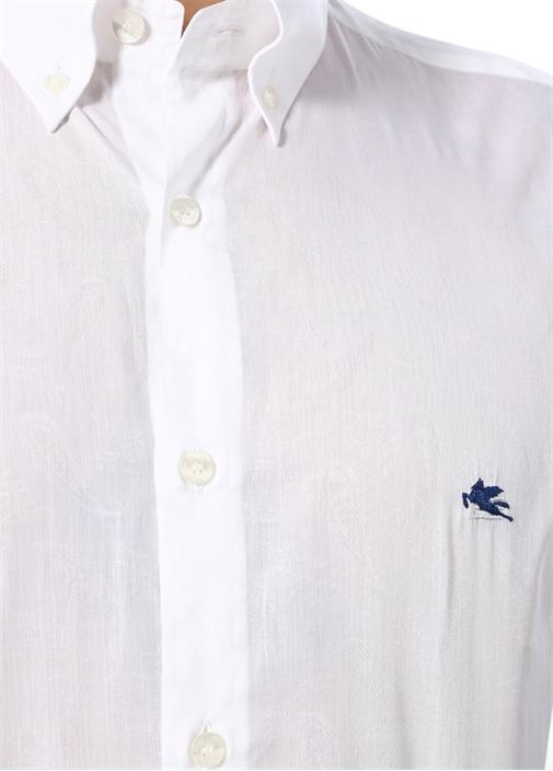 Beyaz Yakası Düğmeli Logo İşlemeli Gömlek