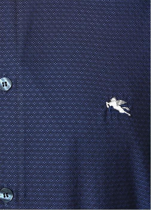 Lacivert Yakası Düğmeli Mikro Desenli Gömlek