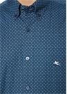 Lacivert Yakası Düğmeli Şal Desenli Gömlek