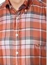 Turuncu Logo Nakışlı Ekose Desenli Gömlek