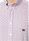 Beyaz Mor Mikro Şal Desenli Gömlek