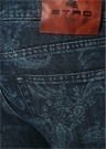 Mavi Normal Bel Boru Paça Desenli Jean Pantolon