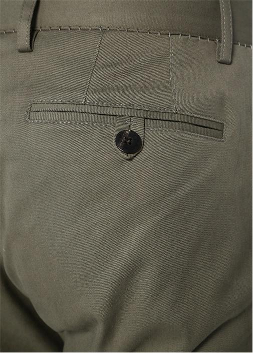 Haki Dikiş Detaylı Pantolon