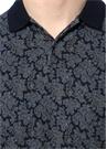 Lacivert Polo Yaka Etnik Desenli T-shirt