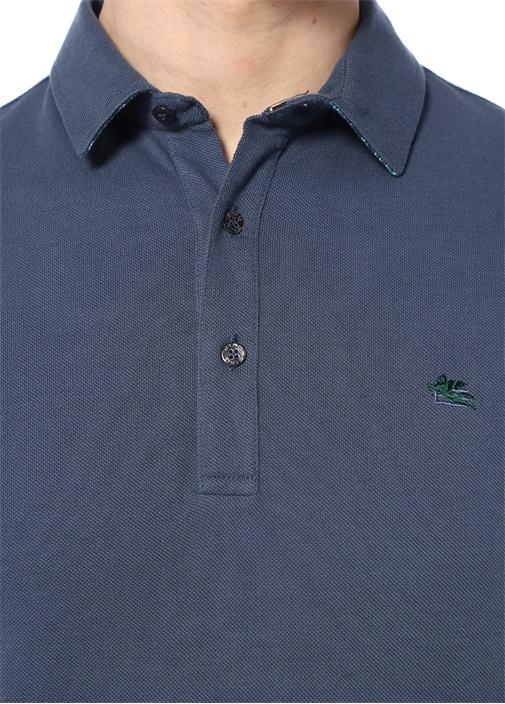 Mavi Polo Yaka Düğme Kapatmalı T-shirt