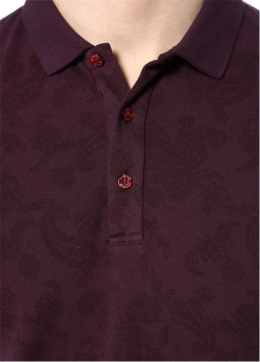 Bordo Polo Yaka Etnik Desenli T-shirt