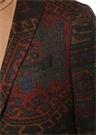 Kahverengi Etnik Desenli Yün Ceket
