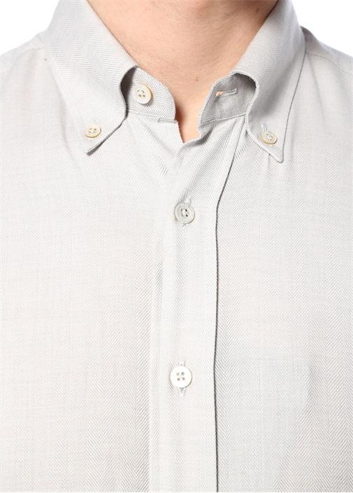 Modern Fit Gri Yakası Düğmeli İkat Desenli Gömlek