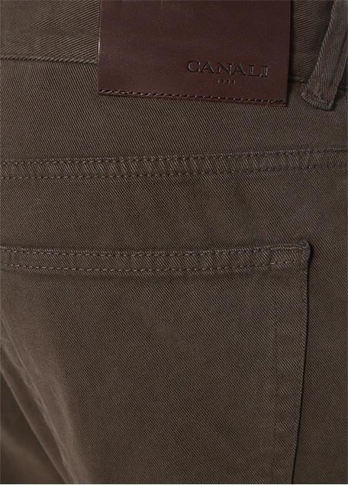 Kahverengi Logolu 5 Cepli Kanvas Pantolon