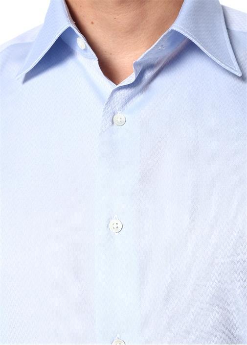 Mavi Mikro Desenli İngiliz Yaka Gömlek