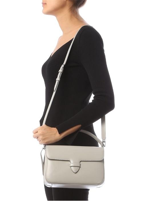 Gri Troklu Kadın Deri Çanta