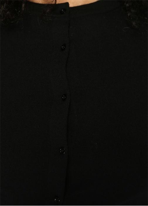 Laine Supreme Siyah Düğmeli Crop Yün Hırka